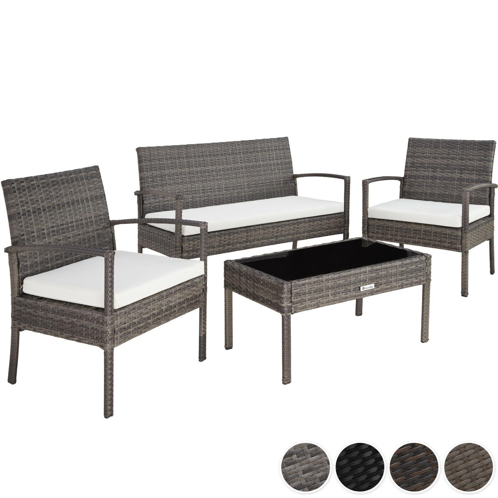 Garden Furniture - Poly Rattan Garden Furniture 2 Chairs Bench Table Set Outdoor Patio Wicker Grey