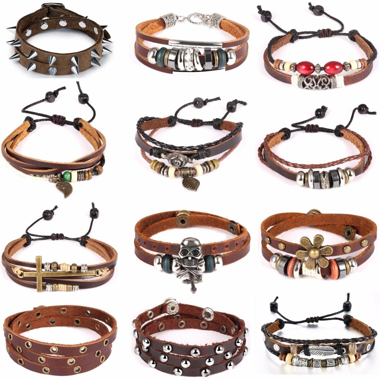 Damen Herren Armband Leder Legierung Vintage Armreif Armkette Braun Schmuck