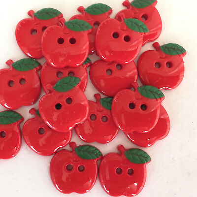Red Apple Buttons, 18mm, 2 holes, sold per 5 buttons