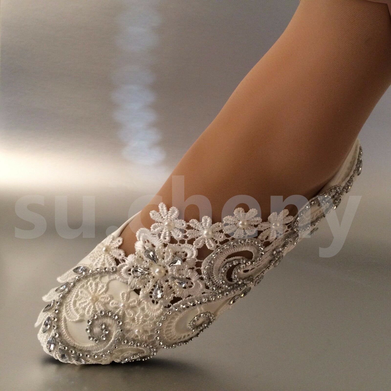 a59bc49742b0 su.cheny White ivory pearls rhinestones lace flat Wedding shoes Bridal size  5-12