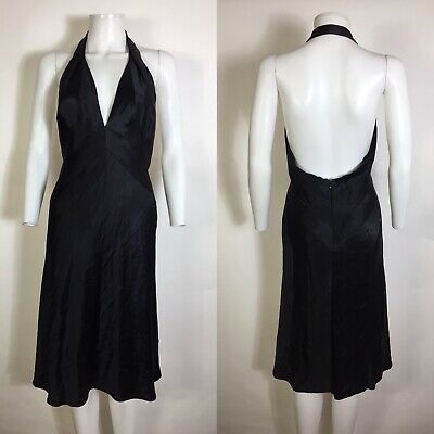 Rare Vtg Gianni Versace 2001 Black Silk Halter Dress 42 M