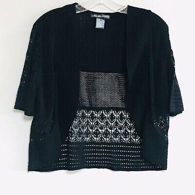 United States Sweaters sz XL women's BLACK CROCHETED BOLERO Shrug Cardigan Knit Knit Bolero Shrug