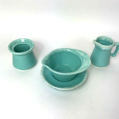 Hull USA Crestone Turquoise Drip 4 Piece Set Pottery Serving Pieces 1965