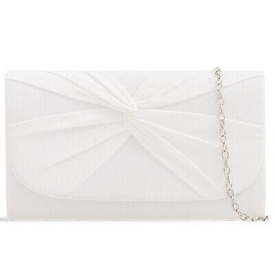 Plissee Damen Tasche (Weiß Plissee Wildleder Hochzeit Damen Party Clutch Handtasche)