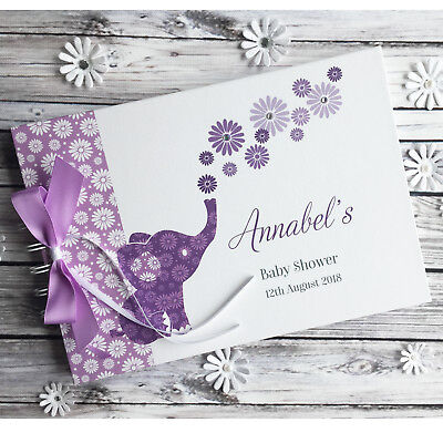 Personalised Baby Shower Christening Guest Book Elephant Album