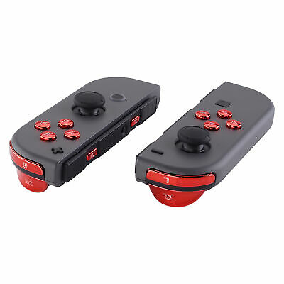 Chrome Red Full Set Buttons + Tools Replacement Kits For Nintendo Switch Joy-Con