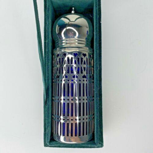 Neiman Marcus Cobalt Blue Sugar Shaker Silver Plated Godinger In Box
