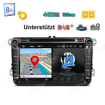 "8"" Android 8.0 4GB RAM Autoradio GPS Navi DVD BT 5.0 Für VW Passat Touran Polo"