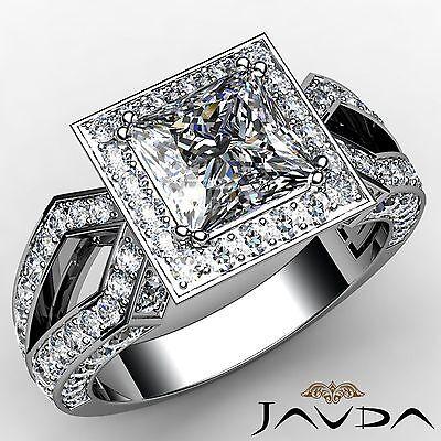 Princess Diamond Vintage Style Engagement GIA G VS1 Platinum Halo Ring 2.88ct