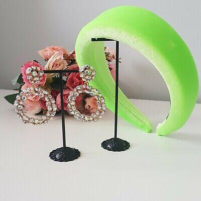New Neon green Womens DESIGNER Thick Padded Velvet Wide Hairband Headband  - Neon Green Velvet