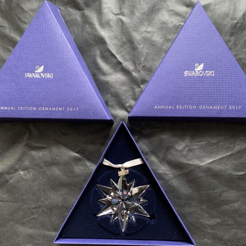 SWAROVSKI Crystal 2017 Annual STAR / SNOWFLAKE Christmas Ornament #5257589MIB