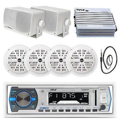 مكبر صوت بحري 400 واط ، راديو USB أبيض يعمل بالبلوتوث ، هوائي ، 3.5