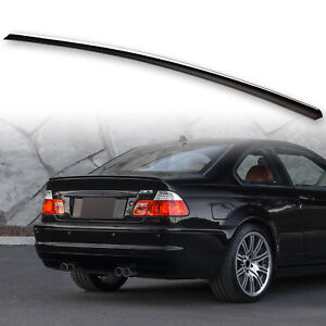 Fyralip Painted Trunk Lip Spoiler Wing Jet Black #668 For BMW E46 Coupe / M3