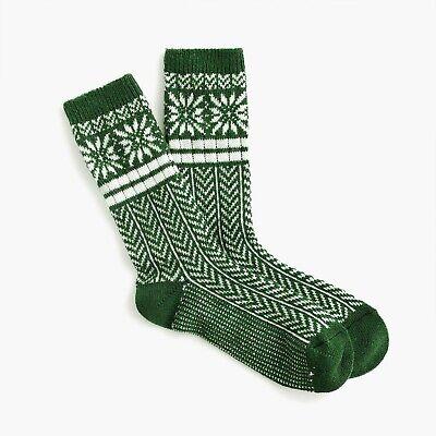 NEW J. Crew Women's Trouser socks in snowflake Fair Isle in Alpine Meadow K6538
