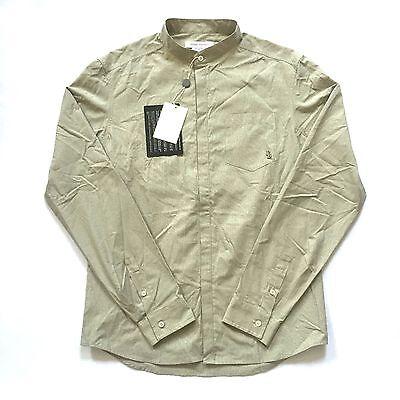 NWT $400 Pierre Balmain Beige Check Button Down Band Collar Logo Shirt AUTHENTIC Button-down-band