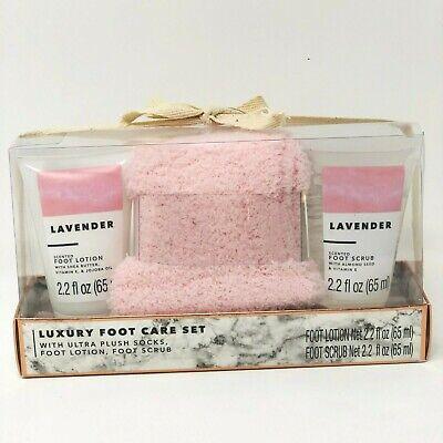 Luxury Foot Care Set ~ Ultra Plush Socks, Lavender Foot Lotion & Foot Scrub Lavender Foot Scrub