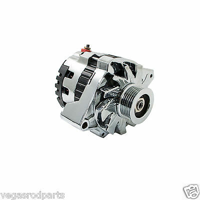 Universal GM Chevy Serpentine High Output CHROME Alternator 160 AMP 1 Wire cs130