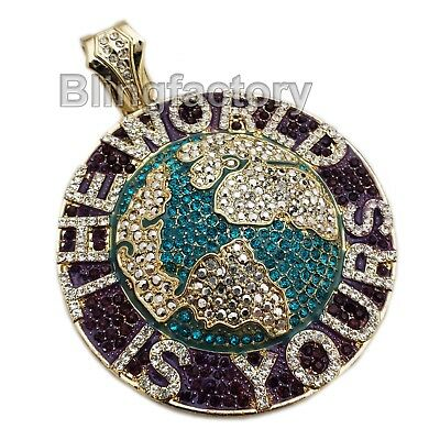 HIP HOP ICED OUT THE WORLD IS YOURS LARGE BLING RAPPER'S CHARM PENDANT (Bling Hip Hop Rapper Jewelry)