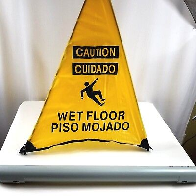 Handy Cone Wet Floor Triangle Sign Wet Floor Caution Cuidado Piso Mojado Holder
