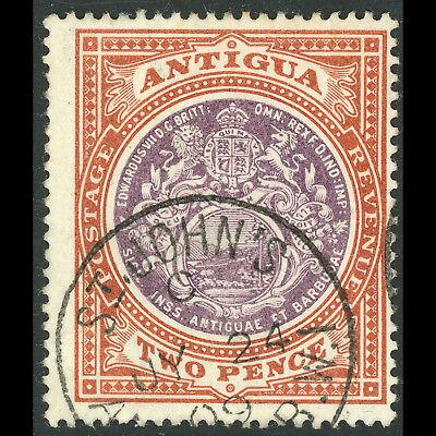 ANTIGUA 1903-07 2d Dull Purple & Brown. SG 33. Fine Used. (AF177)
