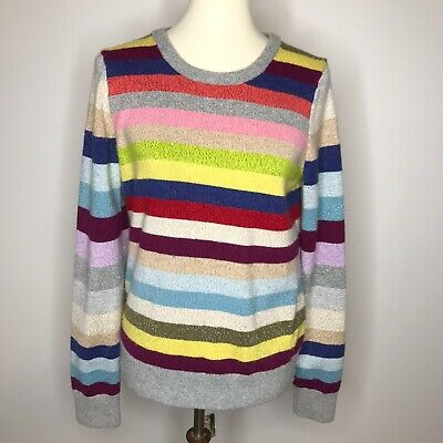 Gap Womens Crazy Stripe Wool Blend Jumper Sweater Knit Metallic Rainbow M Knit Wool Blend Sweater