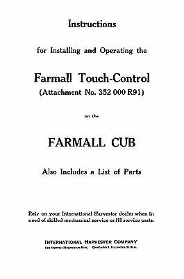 Farmall Cub Touch Control Attachment Install Owners Parts Manual 1-004-162-r1