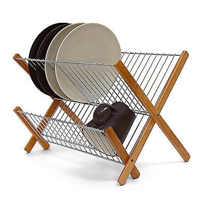 Abtropfgestell Bambus & Metall Geschirrkorb Abtropfgitter zum Klappen Holz
