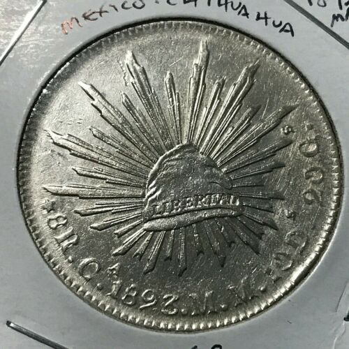 1893 MM MEXICO  CHIHUAHUA SILVER 8 REALES HIGH GRADE CROWN COIN