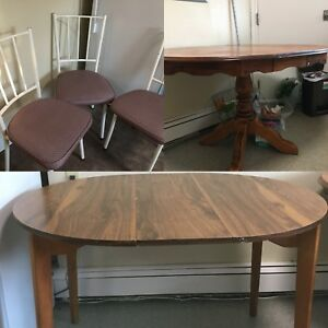 Two tables and three chairs or four