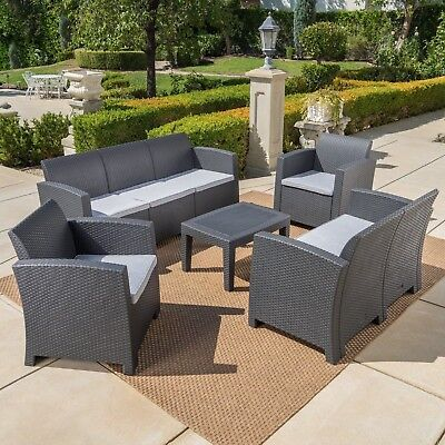 Dayton Outdoor 5 Piece Faux Wicker Rattan Chat Set with Sofa and Water Resistant