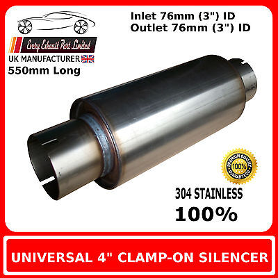 """4"""" x 18"""" Clamp On Stainless Steel Silencer Exhaust Box Body, 3"""" (76mm) Bore"""