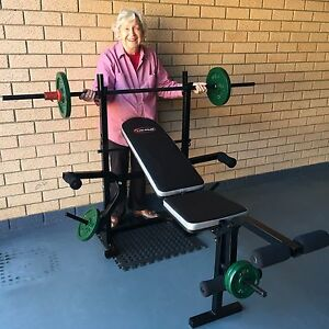 Weights bench press, barbell & 35 kg cast iron weights Sunnybank Brisbane South West Preview