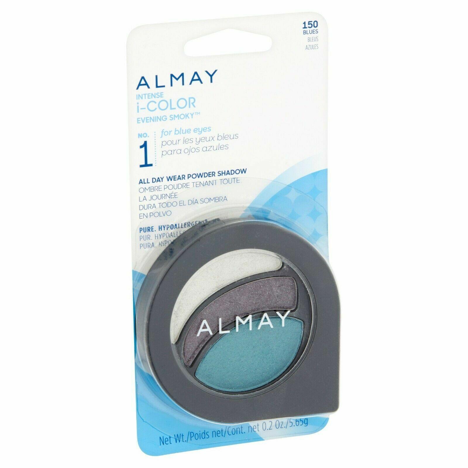 3 almay intense i-color evening smoky 150 blues powder shadow 1 liner