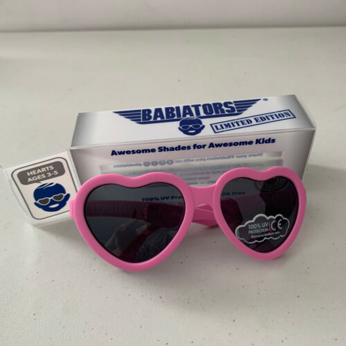 Babiators ages 3-5 I Pink I Love You Hearts Limited Edition Sunglasses Aviator
