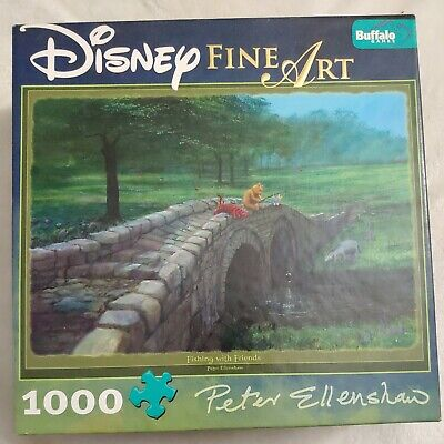 DISNEY Fine Art 1000 Puzzle Fishing With Friends Winnie the Pooh w/ Poster NWOT