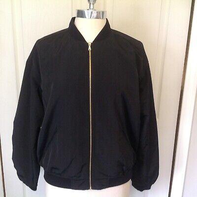 Women's EXPRESS Black Baseball Bomber Style Zip Ruched Jacket Sz Med