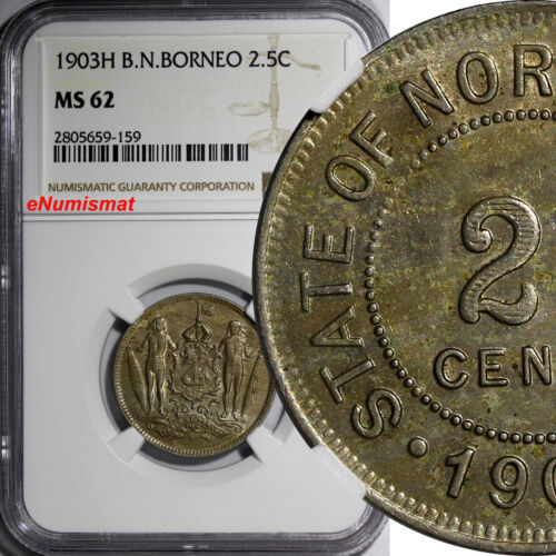 British North Borneo 1903 2-1/2 Cent NGC MS62 LIGHT TONED Heaton Mint RARE KM# 4