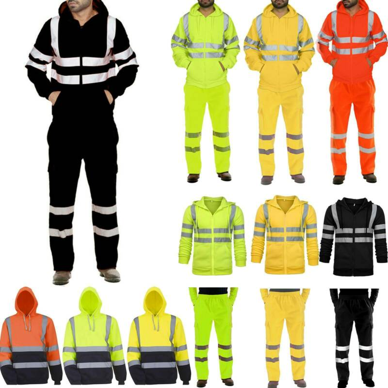 Men Hi Viz Tracksuit High Visibility Hooded Jackets Sweat Pa
