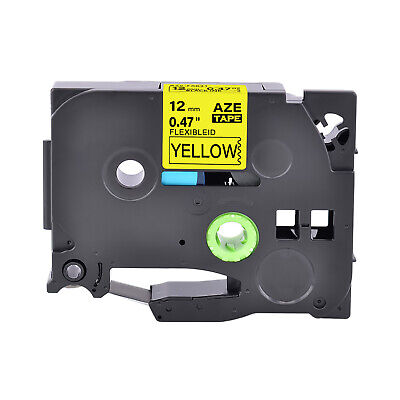 1pk Fits Brother P-touch Tz-fx631 Tze-fx631 Black On Yellow Flexible Label Tape