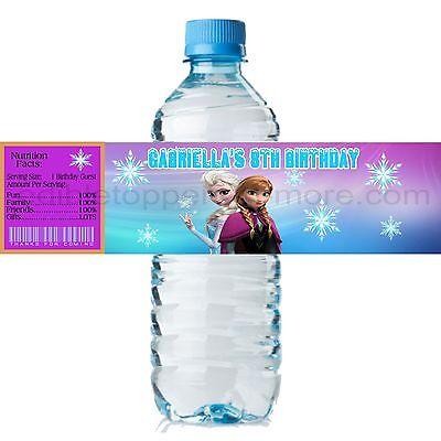 Frozen Water Bottle Labels ((20) Personalized DISNEY'S FROZEN 2 x 8 Weatherproof Water Bottle Labels)