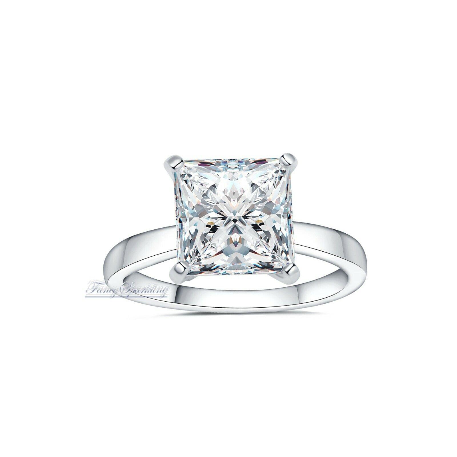 5 Ct Womens Diamond Engagement Ring in 14K White Gold Over Diamond ring