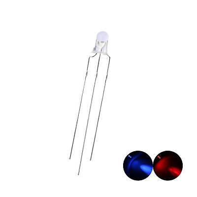 100pcs 3mm Led Lights Emitting Diode 3pin Bi-color Red Blue Common Cathode