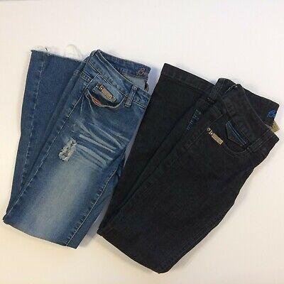 Bubblegum Girls Jeans Size 5 / 6 Lot of 2 Light Wash Distressed & Black Denim