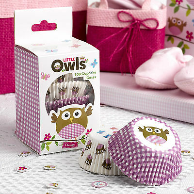 100 CUPCAKE CASES Pink LITTLE OWLS Girl Baby Shower Christening Birthday Party  - Owl Cupcake Papers