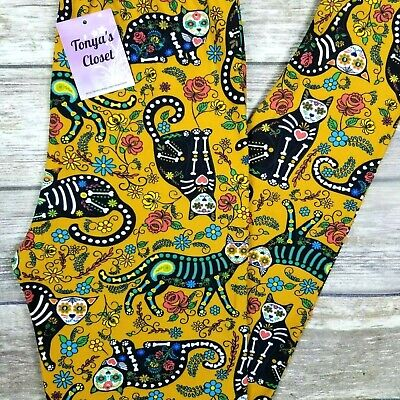 Sugar Skull X Ray Cat Leggings Cats Flowers Floral Buttery Soft ONE SIZE OS - Sugar Skull Cat