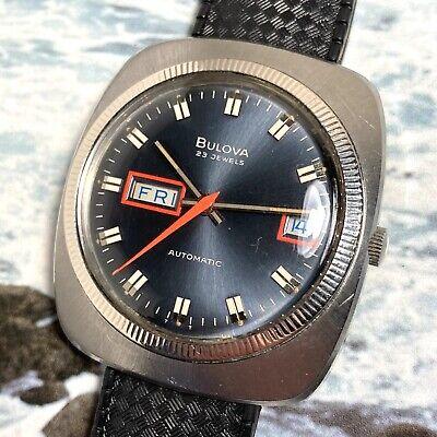 Bulova '72 Vintage Automatic Diver Watch Split Day/Date Blue Dial Wh. Gold Bezel