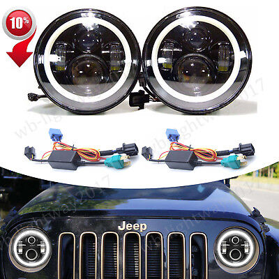 "7""Inch Round LED Halo Angel Eyes Headlights Lamp H4-H13 For Jeep Patriot Liberty"