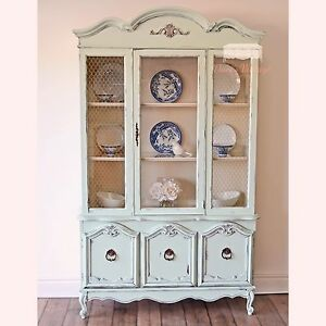 Minty Blue French Provincial China Cabinet