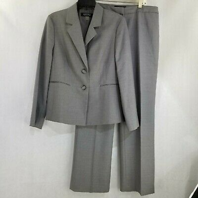 Kasper Women's Light Gray Pant Suit Jacket Blazer 2 Piece Size 12