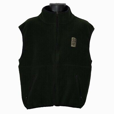 Timberland Mens Fleece Vest Sweater Green Size M Medium Full Zip Sleeveless